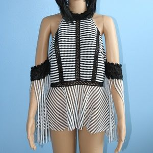 WHY Dresses Black & White Halter Top